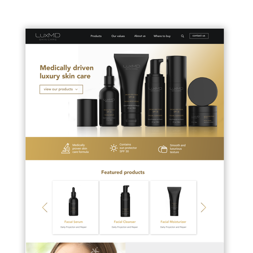 Website design for a skin care line
