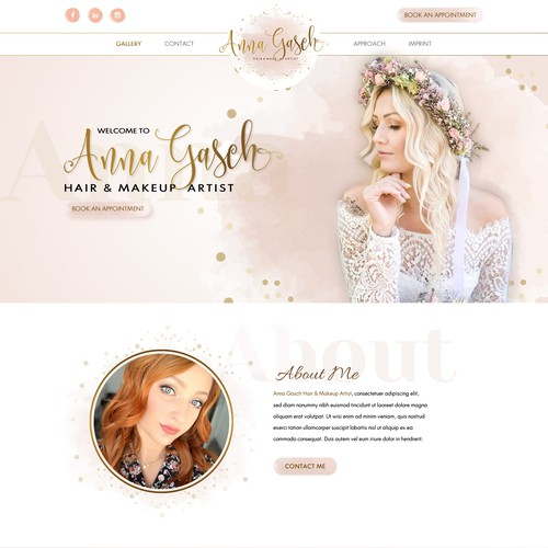 Creative New webdesign for Hair and Makeup Artist