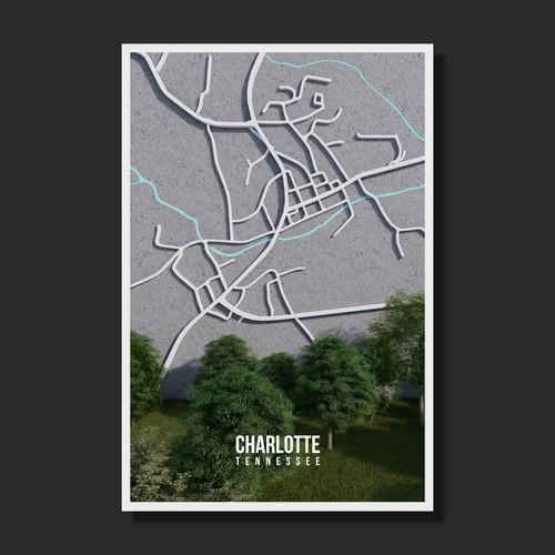 3D Map Poster