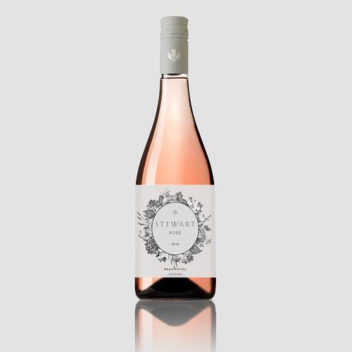 Label design for Stewart Rosé