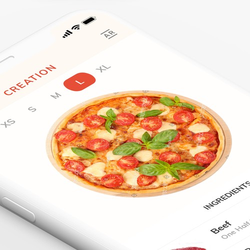 Design concept for Pizza App UI