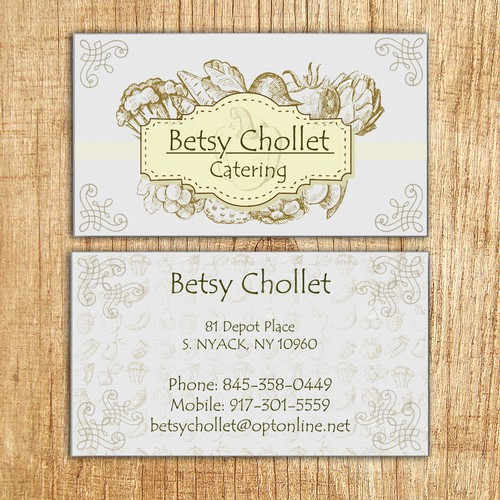 Create a visually stunning business card for a NYC based caterer