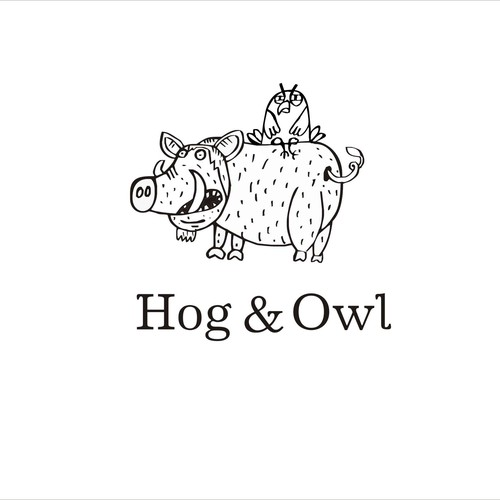 Create a character logo for Hog & Owl, makers of lovely apps