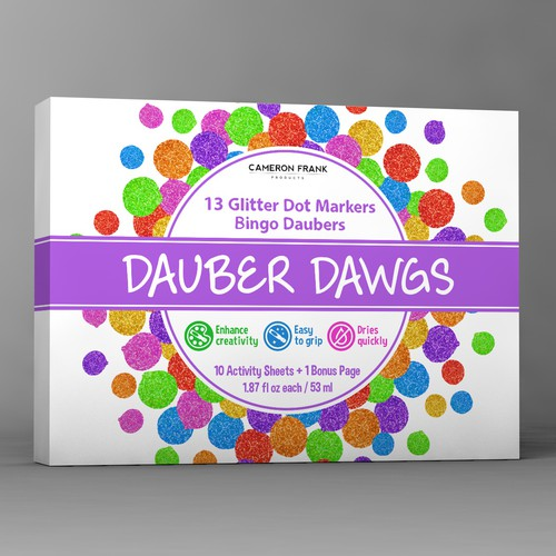 Modern package design concept for glitter dot markers product