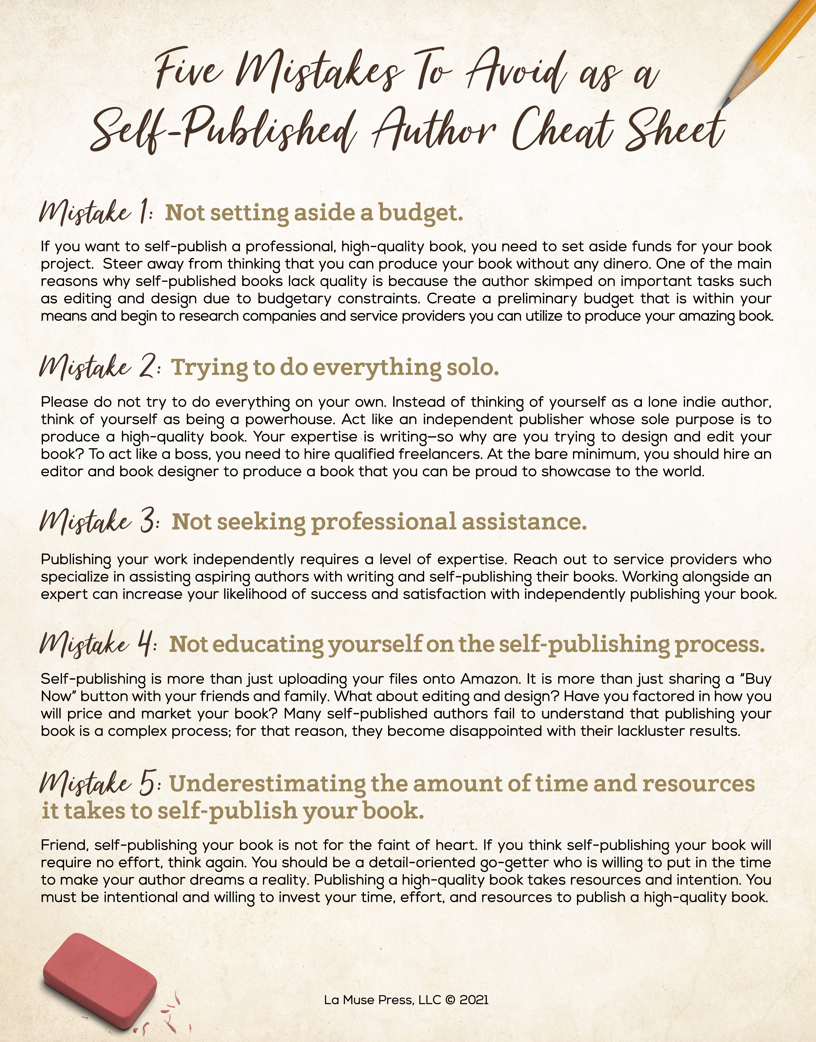 Five Mistakes To Avoid as a Self-Published Author  Cheat Sheet