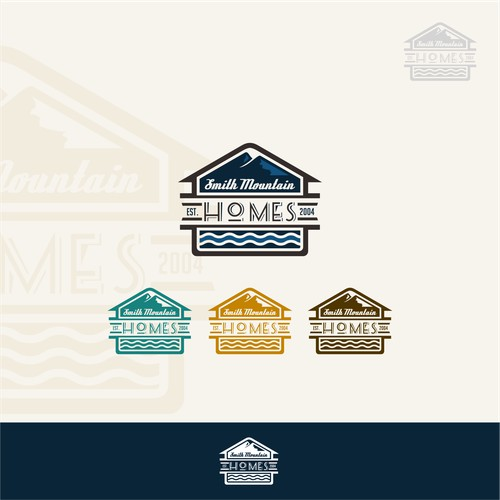 Vintage logo concept for smith mountain homes