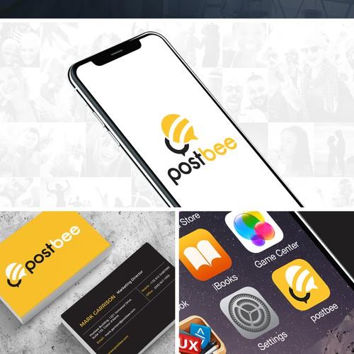 Iconic logo design for postbee