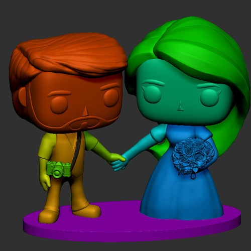 statue for wedding cake top - funko style
