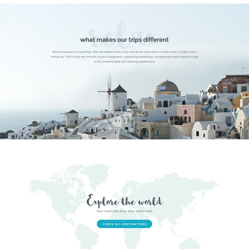 Fun and elegant website for travel agency
