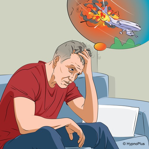 Illustration of a man in - fear of flying