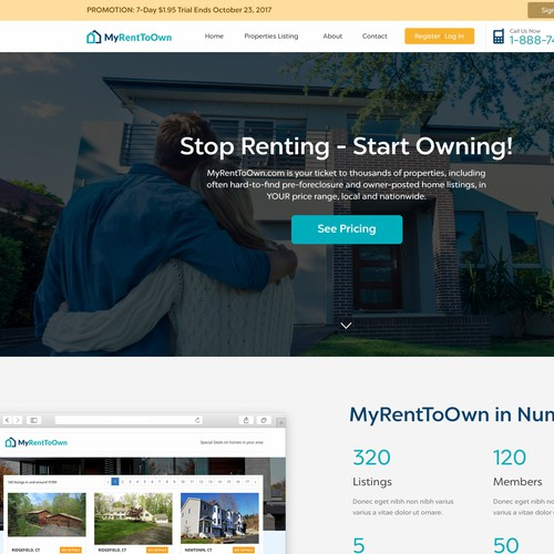 Homepage Concept for MyRentToOwn