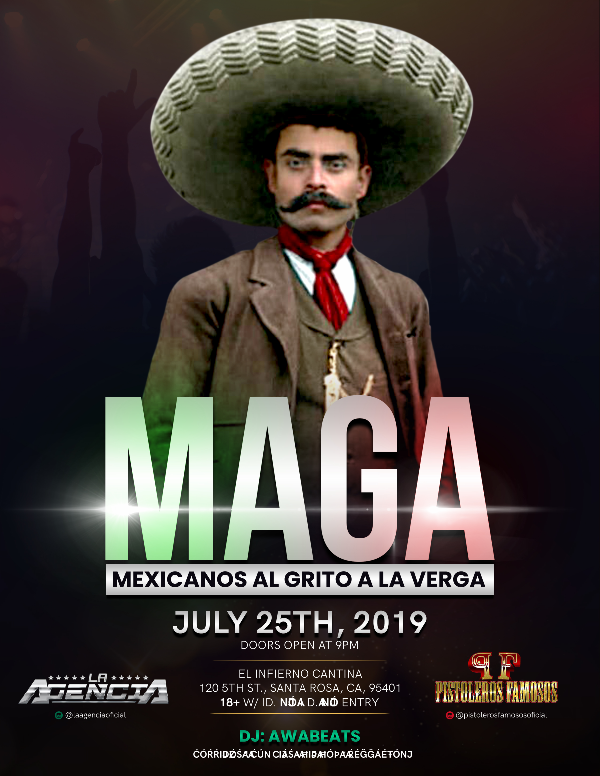 Flyer for Mexican night club event