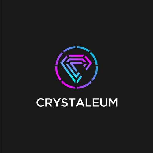Isometric Neon Crystal Cryptocurrency Logo
