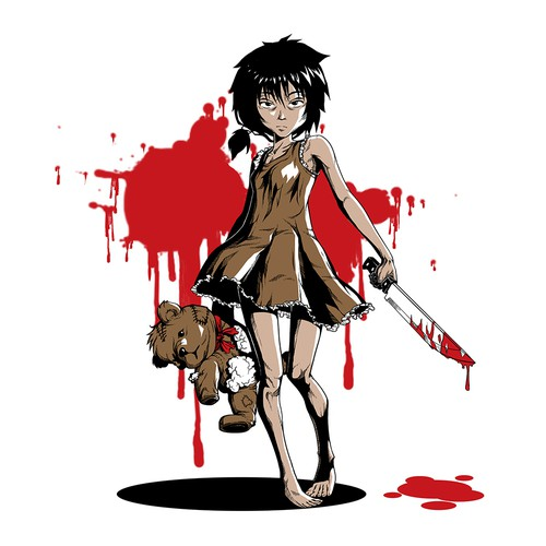 Graphic of Little japanese girl with bloody knife in one hand, a teddybear in the other