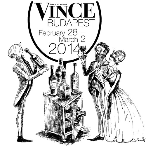 Create a suberb image advertisment for VinCE Budapest Wine Show!