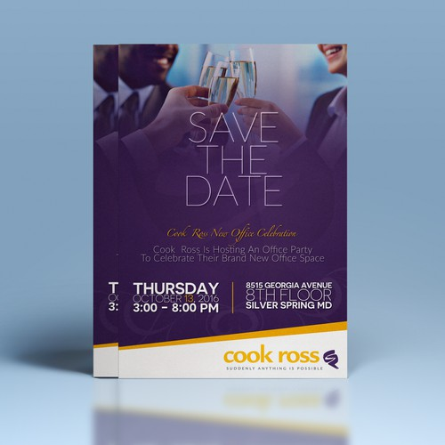 Eye catching A4 invitation for Cook Ross