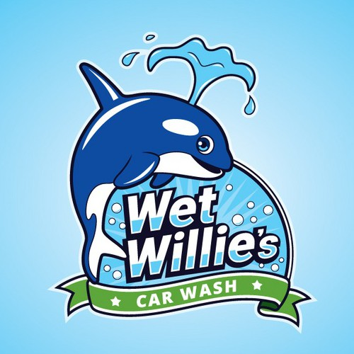 Fun Whale logo for Car Wash Company