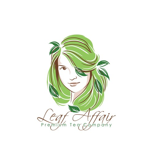 Create an inspiring female character logo for a modern tea company