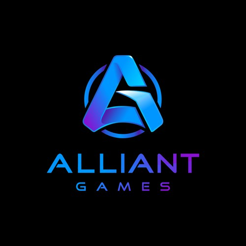 Simple logo concept for Alliant Games, a gaming community for all ages that plays Rust for PC.