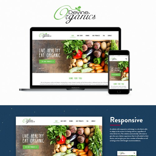 Concept for organic products page
