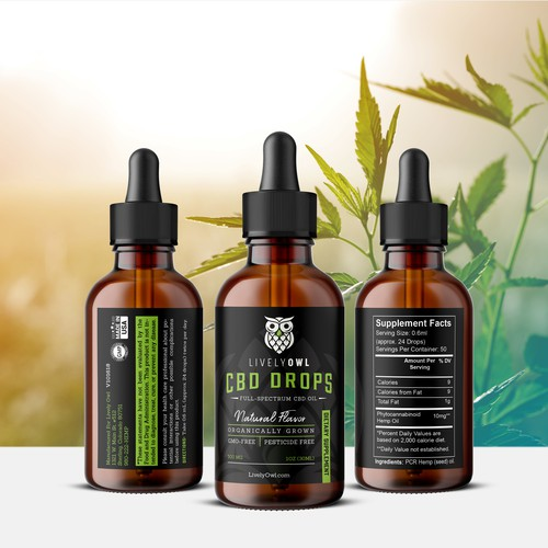 CBD Oil Label Design for Lively Owl
