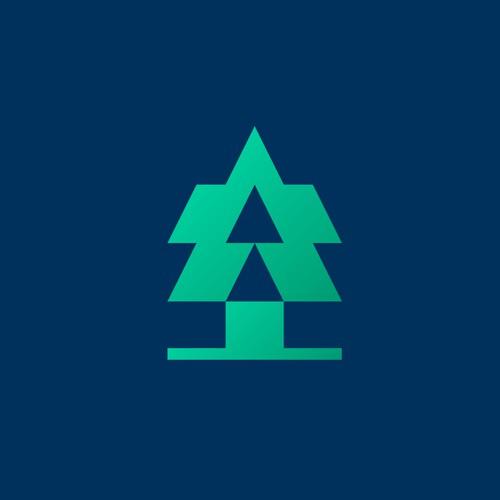 Abstract and geometric pine tree