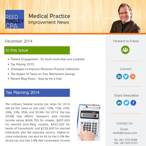 Email Newsletter Design for CPA Servicing Medical Practices