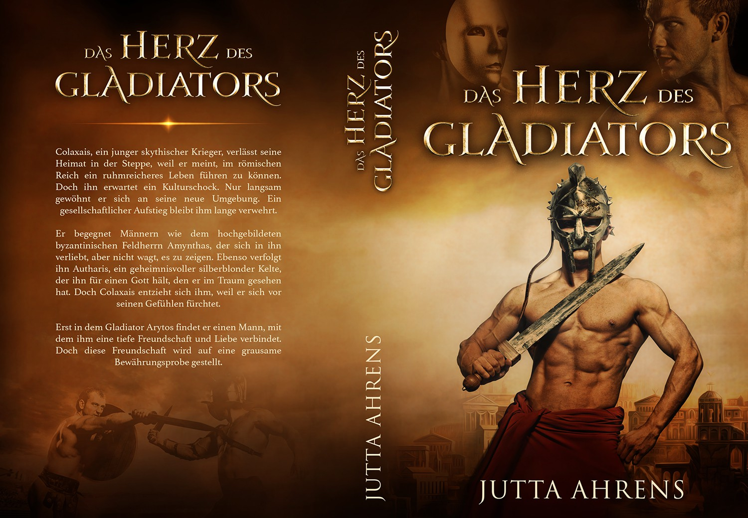 "Book cover for a historical novel with the title ""Das Herz des Gladiators"""