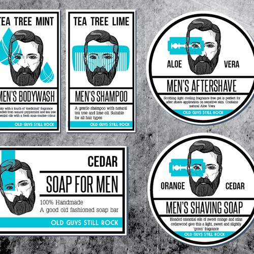 Labels for mens beatuy products