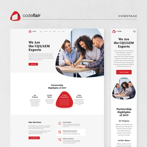 Lean and modern website design for Software Company