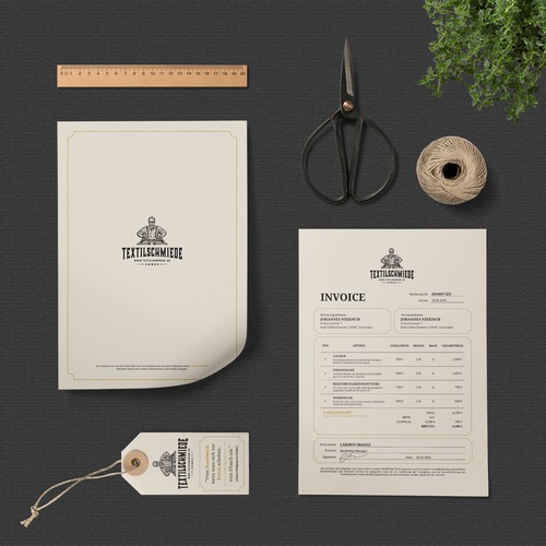 Vintage Stationery Concept for Textilschmiede