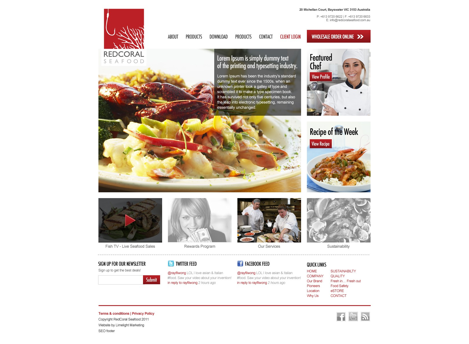 Red Coral Seafood needs a new website design