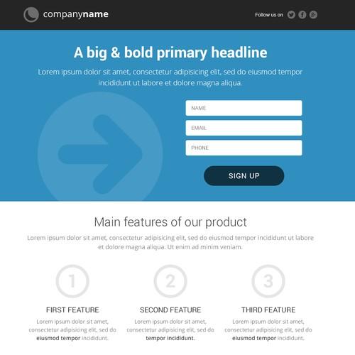 Help 99designs create professional generic landing page templates. Awarding multiple winners!