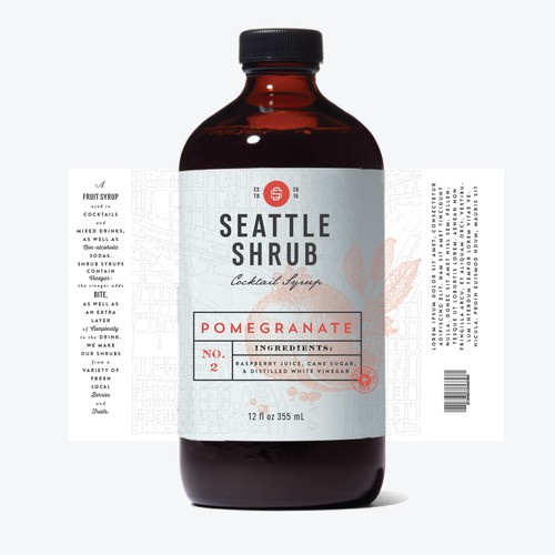 "Design a bottle label for a cocktail ""shrub"" syrup"