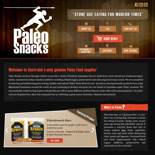 website design for Paleo Snacks