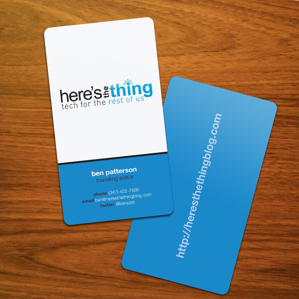 Create the winning business card for new tech site!