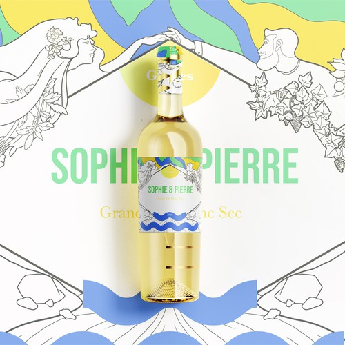 Illustration and label for Sophie&Pierre wine