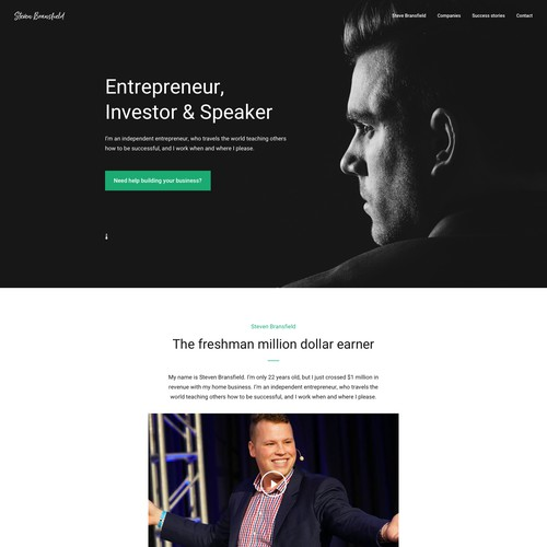 Personal Website Design for Steven Bransfield