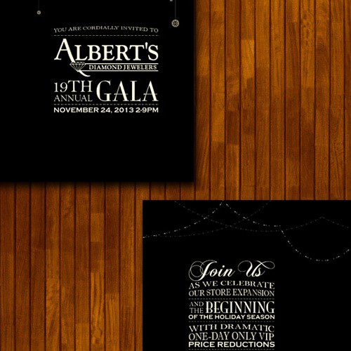 card or invitation for Albert's Diamond Jewelers