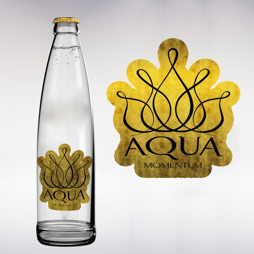 Product label for water with gold flakes