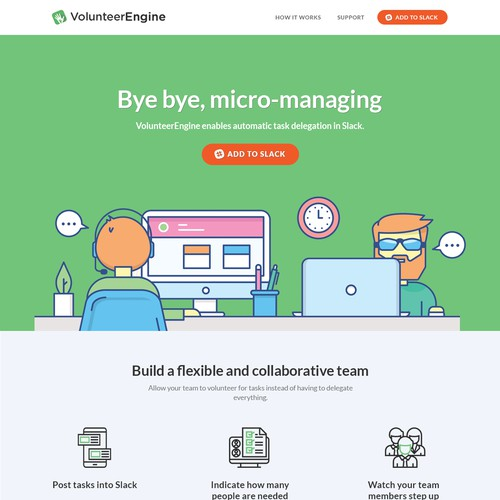 VolunteerEngine Landing Page Design