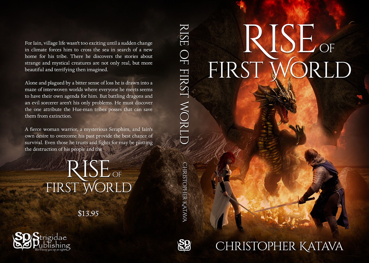 Create a high fantasy book cover with a man, woman, and dragon