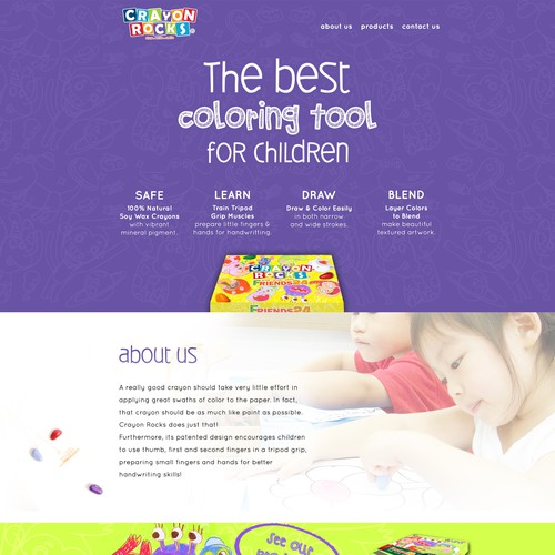 Create a fun, modern, and stand out Website design for Children crayonbrand