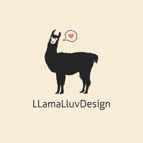 happy lama logo concept