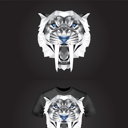 T-shirt design concept with Sabertooth head