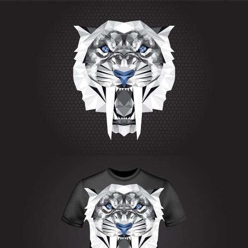 T-shirt design concept with Sabertooth head