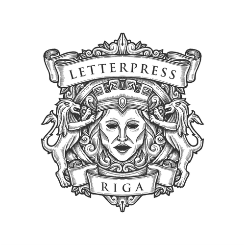 Engraved drawing badge for Letterpress Riga