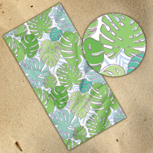 Philodendron Pattern Towel