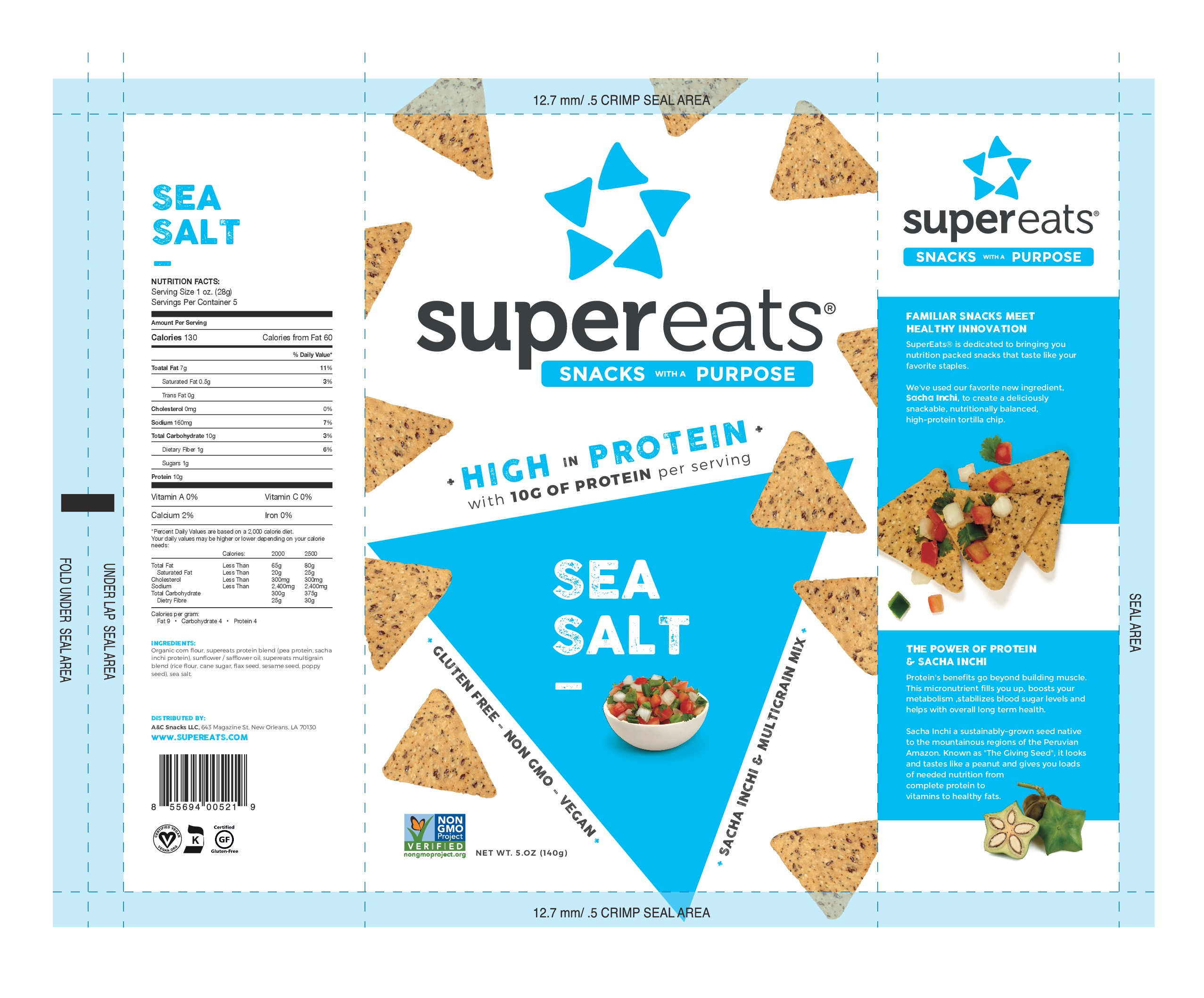 Create an innovative & unique chip snack bag for SuperEats!
