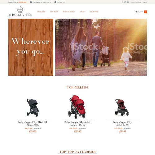 Website design for strooler shop